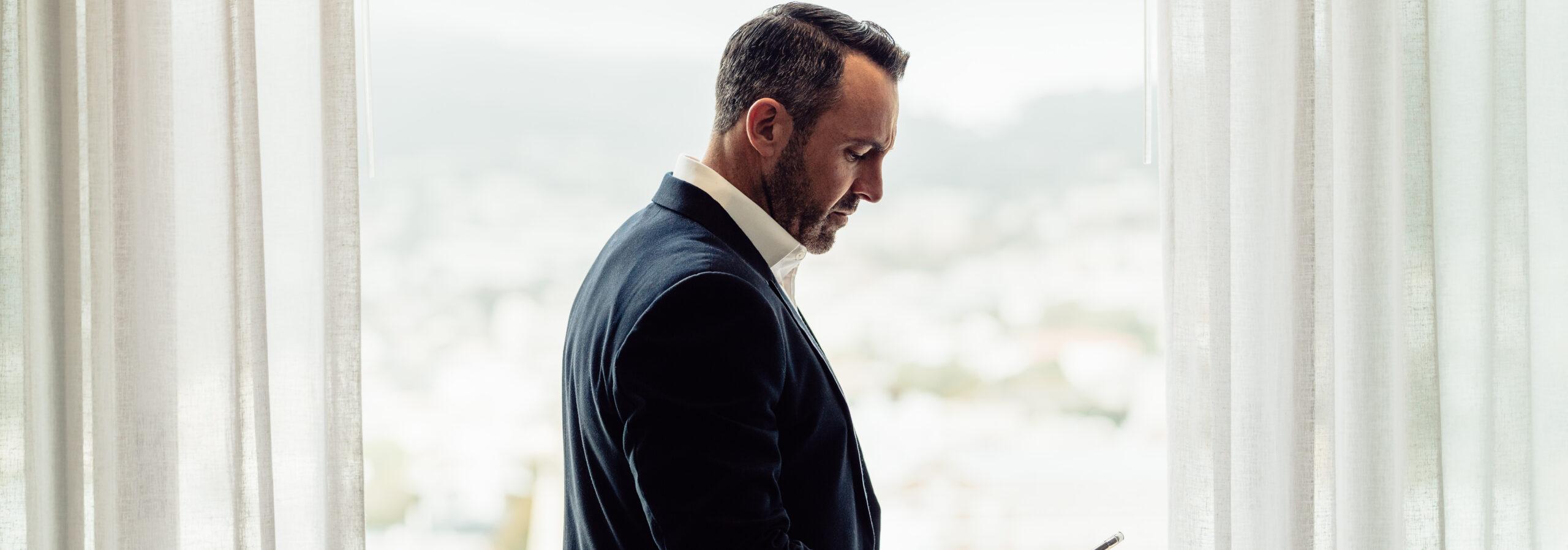Pensive man in suit